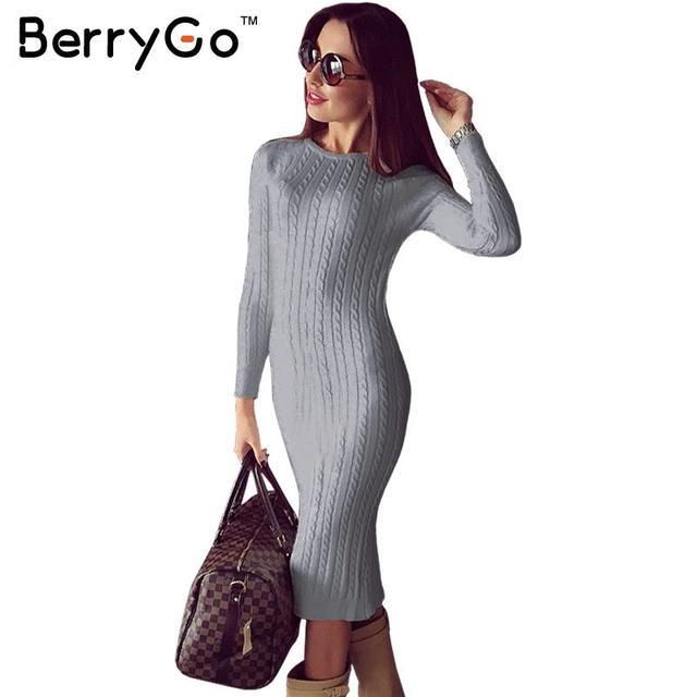 BerryGo Winter split knitted bodycon dress women Sexy long sleeve midi dress 2016 Elegant warm slim sweater dress vestidoes