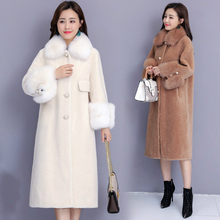 Women Autumn Winter Long Cashmere Overcoat Fox Fur Collar Coat