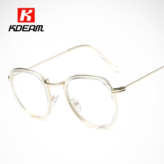 Tricolor Streifen Unisex Brillen Rahmen Retro Runde Grau Transparente Gläser Neu LMoY4W