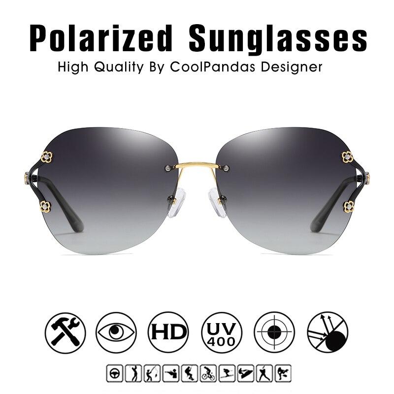 Luxury Brand Fashion Aviation Lady Rimless Sunglasses Women Polarized Shades Oculo UV400 Sun Glasses Glasses For