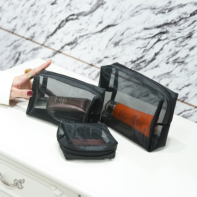 6a88c595195c US $7.43 37% OFF|3Pcs Cosmetic Zip Bag Female Travel Clutch Beauty Makeup  Lipstick Organizer Mesh Beach Pouch Storage Accessories Supplies Stuff-in  ...