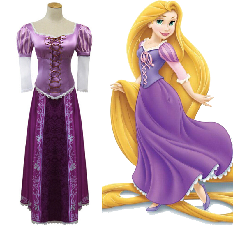2017 Nice Purple Dress Adult Rapunzel Cosplay Costume Women Tangled Rapunzel Princess Dresses Halloween Party Free Shipping ems dhl free shipping toddler s little girl s tull dress princess birthday party masquerade rapunzel cosplay halloween wear