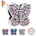 Europea 925 Plata Esterlina Encantos Aptos Pandora Original Pulsera de Cristal Brillante Mariposa Colgante DIY Joyas Auténticas PY13