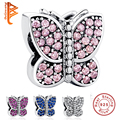 European 925 Sterling Silver Sparkling Crystal Butterfly Charms Fit Original Pandora Bracelet Pendant DIY Authentic Jewelry PY13