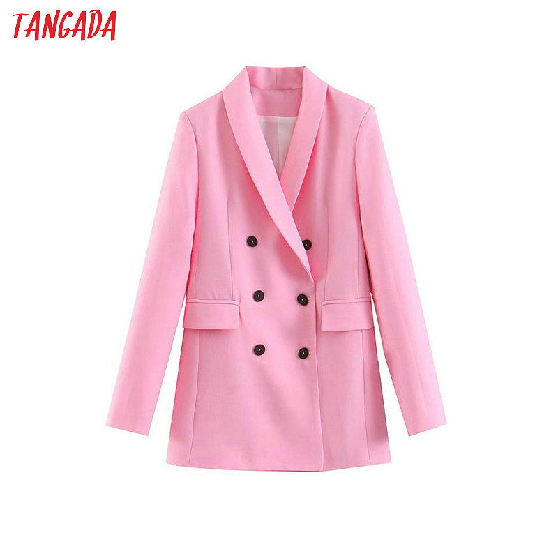 Tangada Fashion Women Pink Blazer Long Sleeve Korea Style Female Blazer Office Ladies High Street Outwear SL271