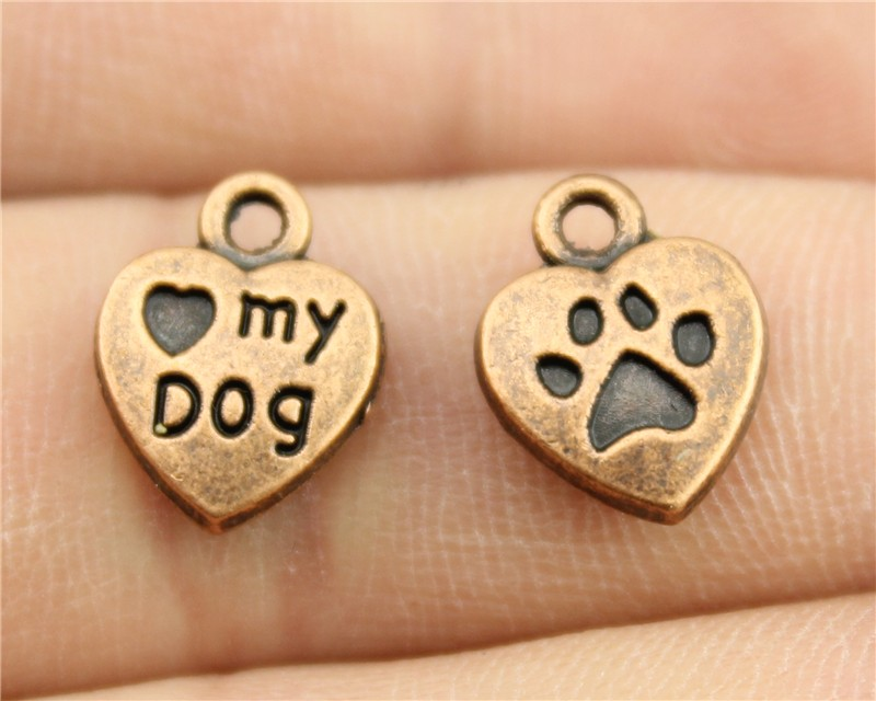 10 Stücke 13x10mm Antike Kupfer Farbe Pfote Und Ich Herz Mein Hund Herz Charme Schnelle WäRmeableitung