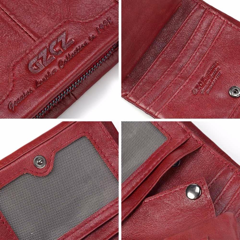 GZCZ Genuine Leather Women Wallet Female Zipper Small Walet Clamp For Money Coin Purse Card Holder Portomonee Mini Purse Rfid