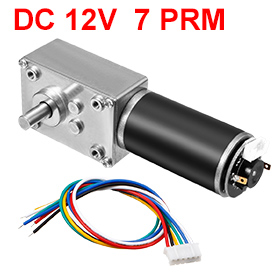 Uxcell(R) 1pcs DC 12V 7RPM 50Kg.cm Self-Locking Worm Gear Motor With Encoder And Cable, High Torque Speed Reduction Motor все цены
