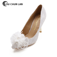 Shoes Women S Shoes Pumps Ivory Lace Flower Wedding Shoes Pointed Toe Pearls Bride Shoes High