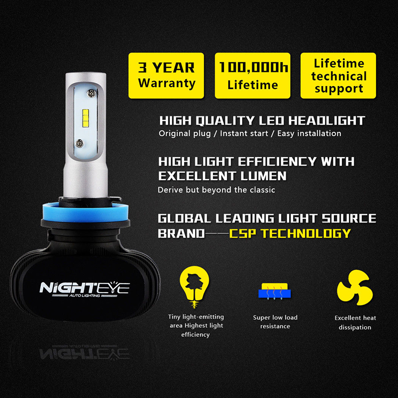 Vehemo 2 шт. H8/H9/H11 светодио дный туман, Лампа безопасности Супер Яркий лампочки Автомобильный светодио дный фар автомобиля укладки