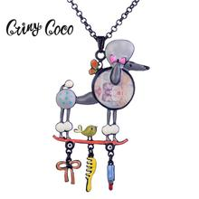 Cring Coco Cute Poodle Pendant Fashion Necklaces 2019 Black Metal Long Chain Enamel Cartoon Animals Jewelry Necklace for Women