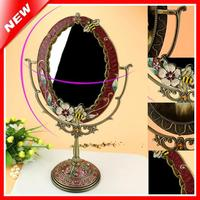 Cosmetic Mirror Dressing Table Standing Mirror Home Decorative Mirror Tin Alloy Antique Beauty Vanity Makeup Mirror For Woman