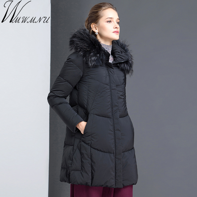 Wmwmnu Women's winter Down Jackets and Coats 2017 Female Parkas Womens mid Long coats real fur collar warm windproof jacket wmwmnu womens winter jackets and coats 2017 thick warm hooded cotton padded parkas for women s winter windproof jacket female