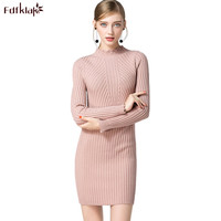 Fdfklak European Warm Turtleneck Cashmere Dress Women 2018 Spring Autumn Mini Dress Long Sleeve Dresses Short
