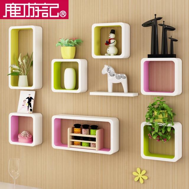 Creative lattice wall paint wooden shelf racks wall living room ...