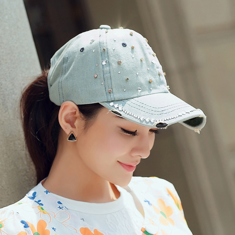 Summer New Arrival Women Casual Denim Hat Outdoor Baseball Cap Fashion Diamond Hat bfdadi 2018 new arrival hat genuine