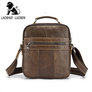 Image 2 - LAOSHIZI النفط حقيبة كتف جلدية Crossbag الذكور حقيبة جلدية أصلية الذكور عادية سعة كبيرة صغيرة رفرف حقيبة يد