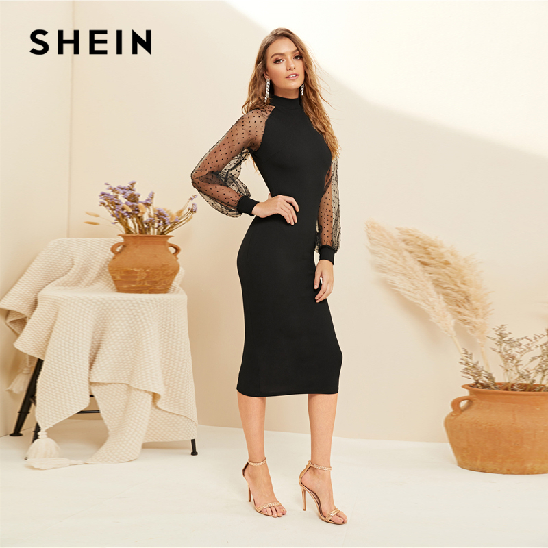 Image 2 - SHEIN Party Black or Blue Pencil Bodycon Dress With Jacquard Contrast Mesh Lantern Sleeve Spring Women Long Sleeve Solid Dresses-in Dresses from Women's Clothing