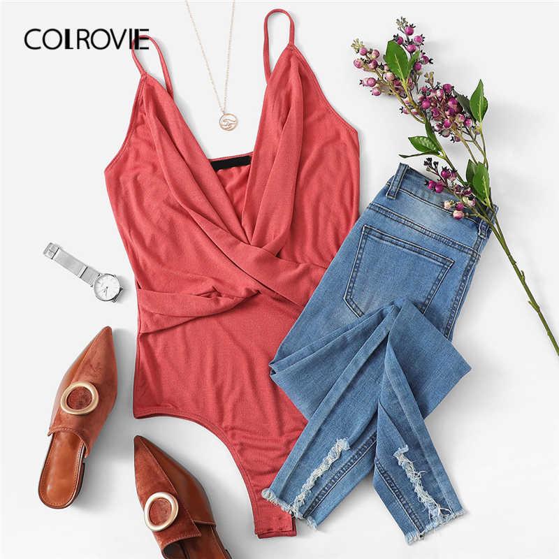 COLROVIE розовый сплошной глубоким вырезом обёртывать накрест Cami сексуальное боди Женская одежда 2019 Весенняя мода вечернее платье без рукавов боди