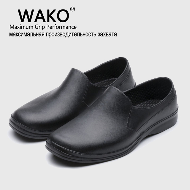 WAKO 2016 Hot Free Shipping Men Casual Flat Shoes EVA Chef Working shoes Kitchen Work Black Shoe Surgical Shoes Skid Oil proof