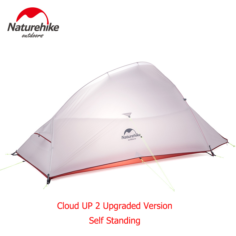 NatureHike 2 Person Camping Tent Outdoor Hiking Backpacking Cycling Ultralight Waterproof CloudUp 2 Upgraded SELF STANDING Tent high quality outdoor 2 person camping tent double layer aluminum rod ultralight tent with snow skirt oneroad windsnow 2 plus