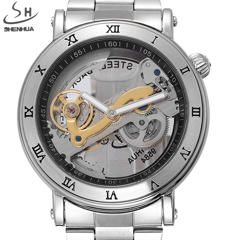 Luxury Brand SHENHUA Tourbillon Automatic Mechanical Watch Men Transparent Skeleton Wristwatch Male Fashion Business Watch luxury brand shenhua steampunk transparent skeleton crystal flywheel automatic genuine leather strap dress mens mechanical watch