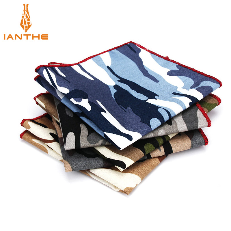 2018 Luxury Brand New Style Hankerchief Scarves Vintage Cotton Hankies Men's Pocket Square Camouflage Classic Print Hanky Towel
