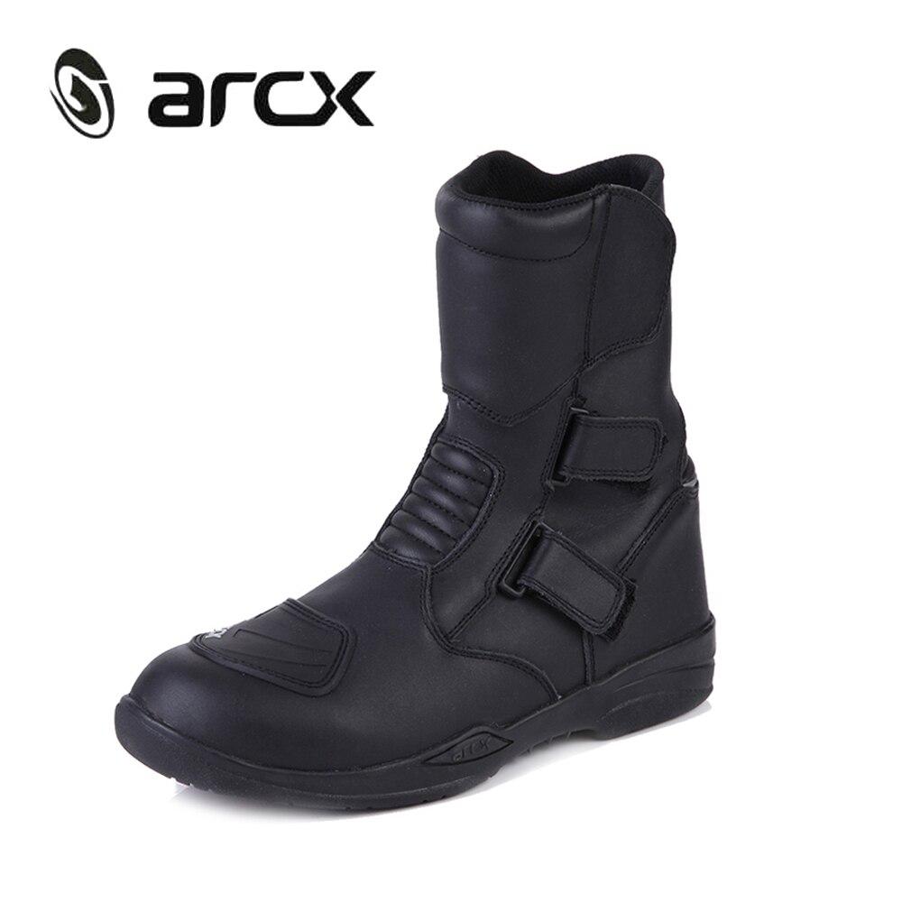 ARCX Véritable Vache En Cuir Moto Bottes D'équitation Imperméable Moto Chopper Cruiser Touring Street Moto Racing Mi-mollet Chaussures