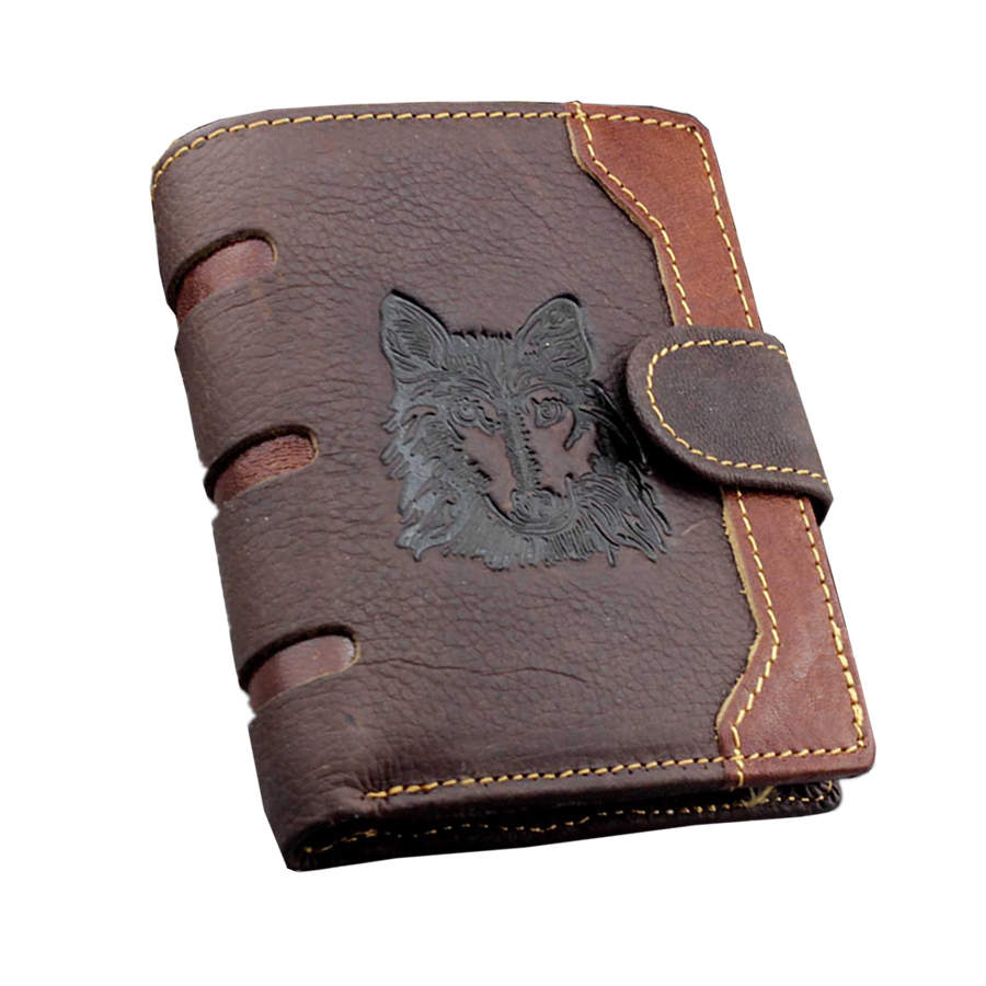 Vintage Genuine Leather Wolf Totem Men Wallets Bifold Wallet ID Card holder Coin Purse Pocket Brand Male Credit & Id Card Wallet 2018 new arrivel anime cartoon rick and morty wallet pu leather bifold wallet id credit card holder purse funny gift w720q