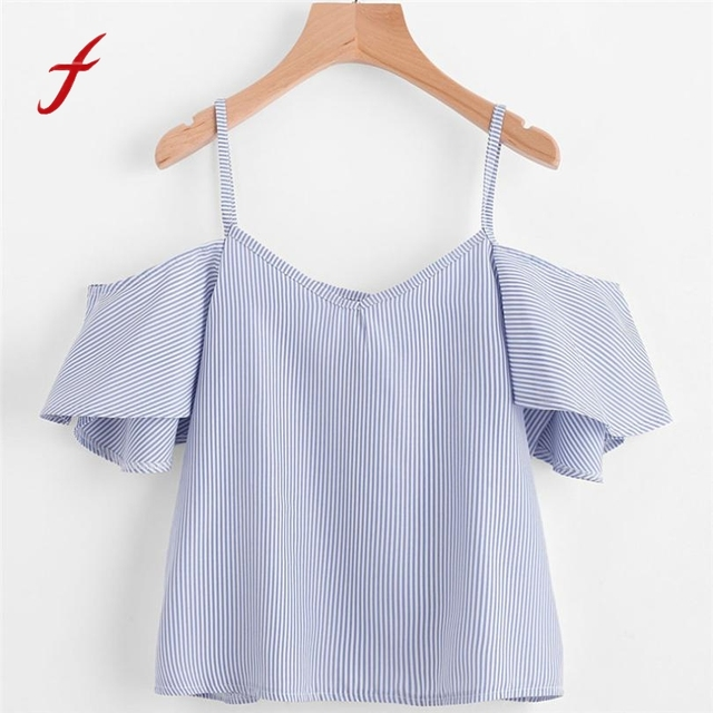 35d5d4100f1 Feitong Women Tops And Blouse Sexy Off Shoulder Short Sleeve Striped Crop  Tops Causal Blouses Shirt blusas mujer de moda 2019