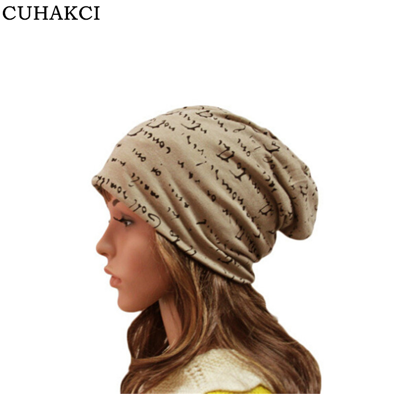 CUHAKCI Casual Thin Beanie Women Skullies Hat Turban Cap Beanies Cotton Hat Female Letter Hip-Hop Hats Men Headwear M055 [jamont] love skullies women bandanas hip hop slouch beanie hats soft stretch beanies q3353