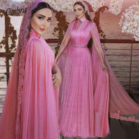 Modest Fushcia Chiffon Muslim Formal Evening Dresses With Wrap High Neck Plus Size Court Train Bridal Reception Prom Party Gowns