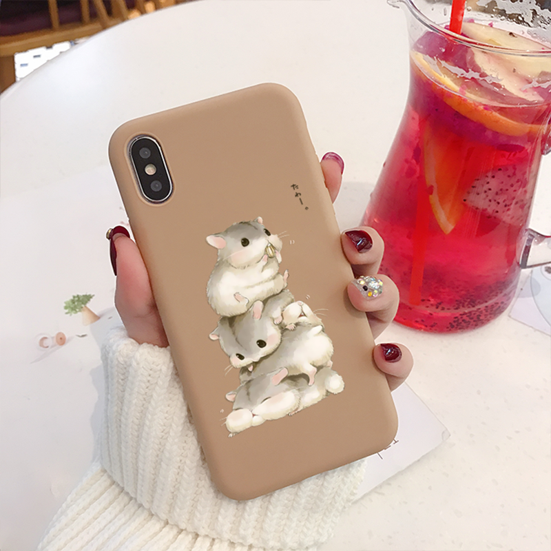 Hamster Leuke Candy Case Voor iPhone 11 pro max 7 8 6 s plus xs max x xr Case Luxe matte Zachte Siliconen Cartoon Back Cover Capa