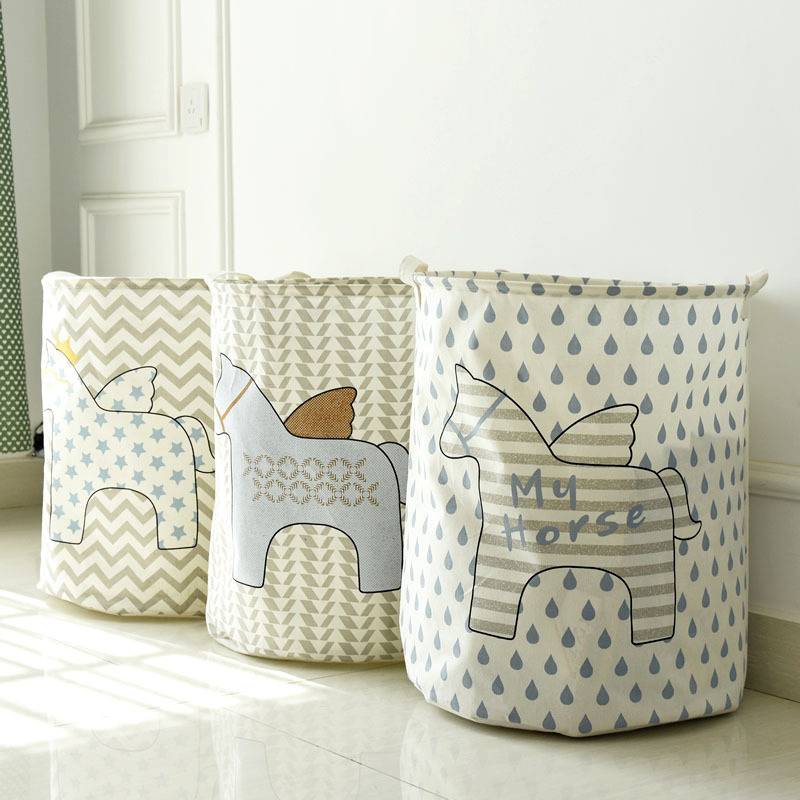 40*50cm Fashion fly horse series waterproof chevron storage barrel,clothing children room can stand storage bag laundry basket