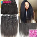 8A grau malásia Clip in tece Kinky em linha reta Clip in extensões de cabelo humano grosso Yaki virgem grampo de cabelo humano em tramas do cabelo