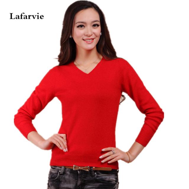 Off Venda Mulher Cashmere Pullover Blusas de Inverno De Lã Quente Malha Pullovers Novo 2015 Moda Camisola de Decote Em V Colorfull