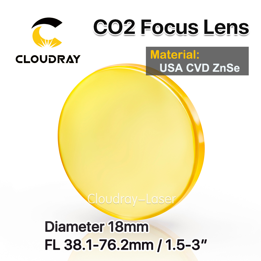 Cloudray USA CVD ZnSe Focus Lens Dia. 18mm FL 38.1-76.2mm 1.5 2 2.5 3 for CO2 Laser Engraving Cutting Machine usa cvd znse focus lens dia 28mm fl 50 8mm 2 for co2 laser engraving cutting machine free shipping