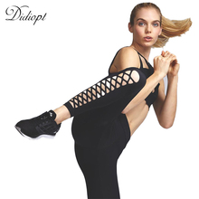 Sport Pants Yoga Leggings Black Hollow Out Skinny Running Pants Women Fitness Leggings Sport Tights Trousers 2017 Summer black cut out yoga bodycon leggings