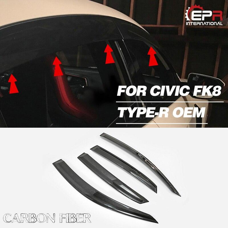 Pour Honda FK8 CIVIC TYPE-R Fibre de carbone OEM porte fenêtre visière finition brillante côté pluie paupière Fiber porte sourcil dérive corps Kit