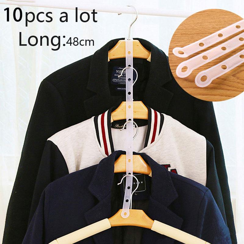 10pcs/vanzlife Creative Hangers Article Link Chain Transparent Clothes Hanger Pimp Article Plastic Hanger Connection Bar