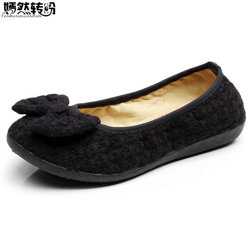 Women Flats Shoes New Old Beijing Bow Cloth Flat Bowtie Loafers Casual Soft Ballerina Shoes For Woman Moccasins Female Footwear vintage women flats old beijing mary jane casual flower embroidered cloth soft canvas dance ballet shoes woman zapatos de mujer