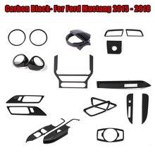 1 set Per 2015-2018 Ford Mustang Nero di Carbonio Finestra Interruttore Sul Pannello di GPS Dashboard Storage Box Interruttore di Copertura Trim interni Auto Parte
