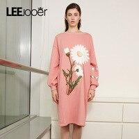 LEEJOOER 2017 Autumn Winter Dress Women Print Floral Dress New Designs Fashion High Street Wear Long