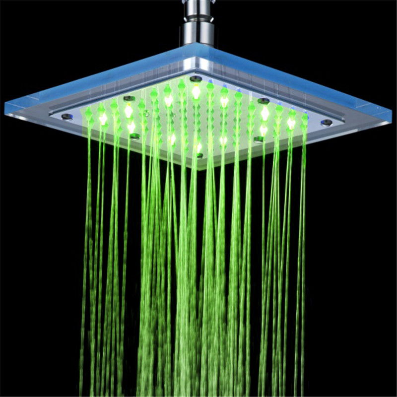 8 inch Hydraulic Led Shower Head 3 Colors Changing,Bathroom LED ...