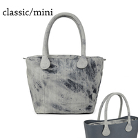 Short Long Round Denim Canvas Fabric Handle With Insert Lining For Obag Classic Mini O Bag