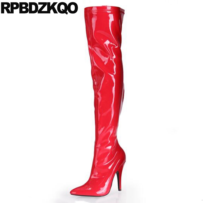 Pointed Toe High Heel Patent Leather Big Size 12 44 Pole Dancing Fetish Sexy Waterproof Luxury Dance Thigh Boots For Plus Women new extreme high heel 20cm heel pointed toe sexy patent leather heel needle metallic sexy fetish inseam boots a 027