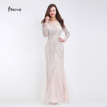 Finove 2020 New Evening Dresses See Through Tulle Beading Floor Length Long Dresses for Women Elegant Dress Party Gown Plus Size