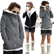 Толстовка с капюшоном 2017 тонкий Для женщин зимний теплый флис хлопок куртка на молнии женские Верхняя одежда Толстовки кофты Плюс Размеры пальто