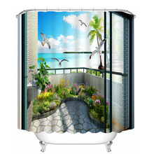 3d Sea View outside the Window Pattern Shower Curtains Bathroom Curtain Thicken Waterproof Thickened Bath