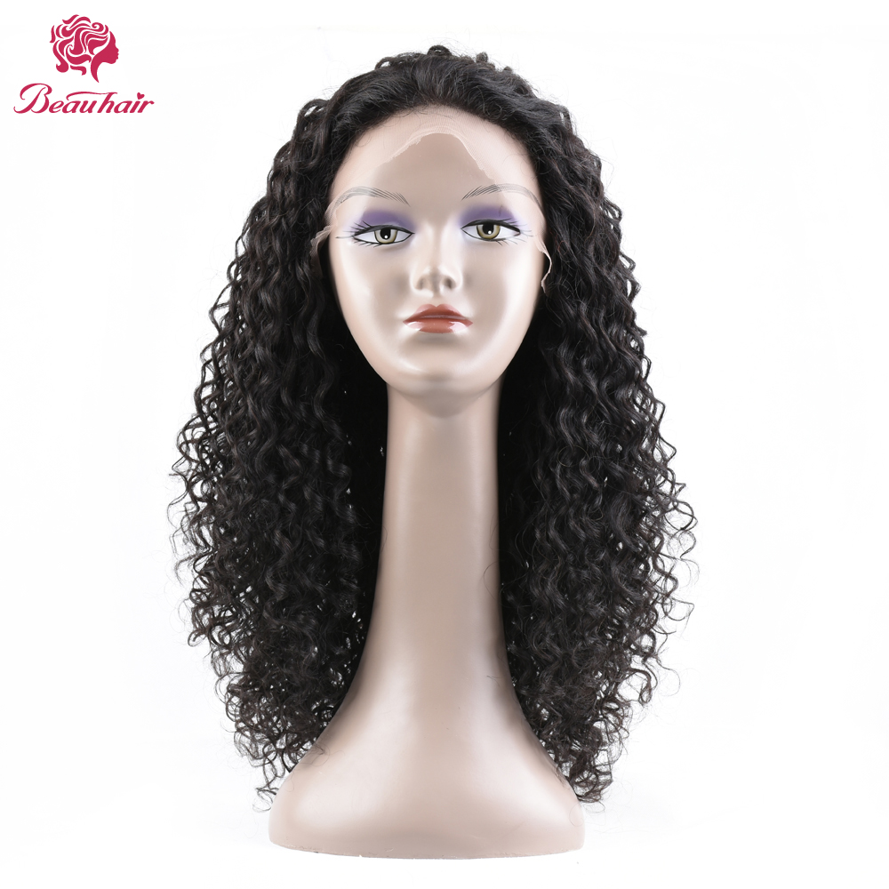 Lace Front Human Hair Wigs For Black Women 120% Non Remy Peruvian Deep Curly Lace Wigs With Baby Hair Bleached Knots Beau Hair